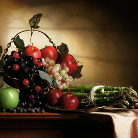 Levin Rodriguez - Still Life with grapes and asparagus
