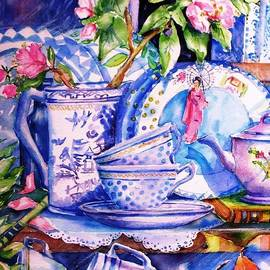 Trudi Doyle - Still Life with  Japanese Plate and Apple Blossom