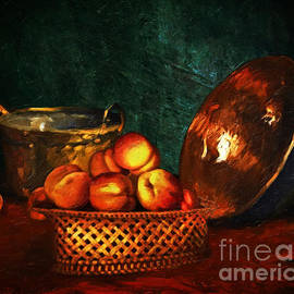Lianne Schneider - Still Life With Peaches and Copper Bowl