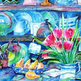 Trudi Doyle - Still Life with Scarlet Tulips and Yellow Pears