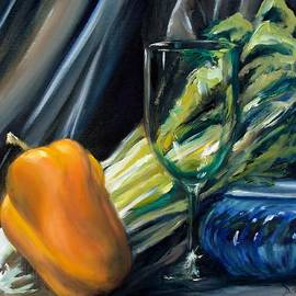 Donna Tuten - Still Life with Yellow Pepper Bok Choy Glass and Dish