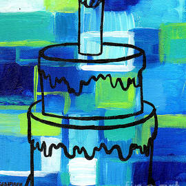 Genevieve Esson - STL250 Birthday Cake Blue and Green Abstract