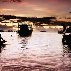 Nasser Studios - Sunset Dhow Ships in Stone Town Port Indian Ocean Zanzibar Tanzania Africa