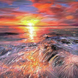 Angela A Stanton - Stormy Sunset at Water