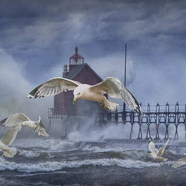 Randall Nyhof - Stormy Weather at the Grand Haven Lighthouse