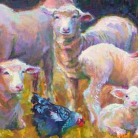 Talya Johnson - Stranger at the Well - spring lambs sheep and hen