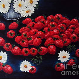 Drinka Mercep - Strawberries and Daisies Original Painting Oil on Canvas
