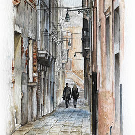 Daniel Yakubovich - Street in Venice - Watercolor - Yakubovich