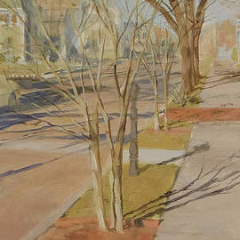 Ellen Paull - Street Trees with Winter Shadows