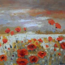 Maria Karalyos - Summer landscape with poppies