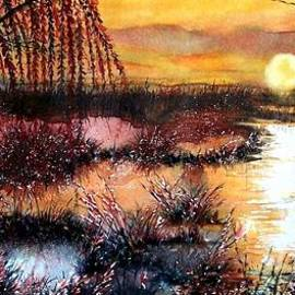 Janine Riley - Sun sets on the marsh