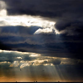 M and L Creations - Sunbeams Emanating Through Clouds Above The Ocean