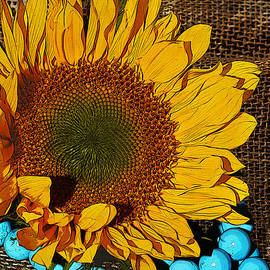Phyllis Denton - Sunflower Burlap And Turquoise