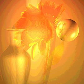 Joyce Dickens - Sunflower Orange With Vases Posterized