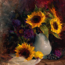 Karen Whitworth - Sunflowers and Porcelain Still Life