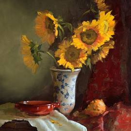 Viktoria K Majestic - Sunflowers and Red Saucer