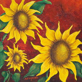 Pamela Allegretto - Sunflowers at Sunset