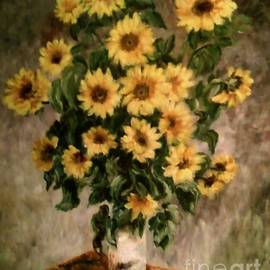 Carol Wisniewski - Sunflowers in a Vase after Monet