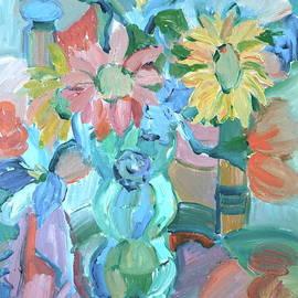 Brenda Ruark - Sunflowers in blue vase
