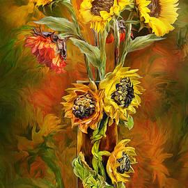 Carol Cavalaris - Sunflowers In Sunflower Vase
