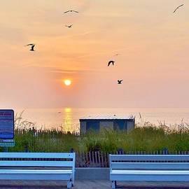 Kim Bemis - Sunrise at Rehoboth Beach Boardwalk