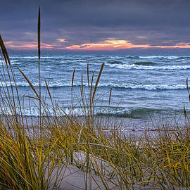Randall Nyhof - Sunset on the Beach at Lake Michigan with Dune Grass