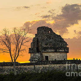 Oscar Gutierrez - Sunset at the Mayan Observatory El Caracol in Chichen Itza Mexico