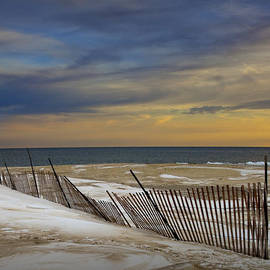 Randall Nyhof - Sunset by the Beach at Grand Haven Michigan during Winter