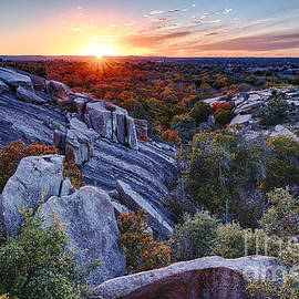 Silvio Ligutti - Sunset from the top of Little Rock at Enchanted Rock State Park - Fredericksburg Texas Hill Country