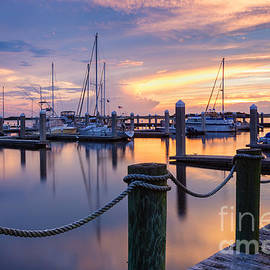 Dawna  Moore Photography - Sunset over the Fernandina Beach Marina Amelia Island Florida