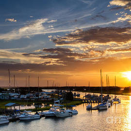 Dawna  Moore Photography - Sunset Over Tiger Point Marina Amelia Island Florida