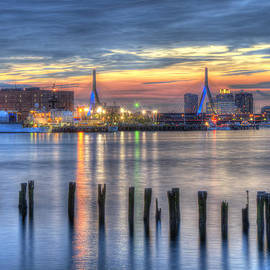Joann Vitali - Sunset over Zakim Bridge and Boston Harbor