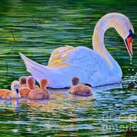 AnnaJo Vahle - Sunset Swan Family