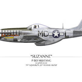 Craig Tinder - Suzanne P-51D Mustang - White Background