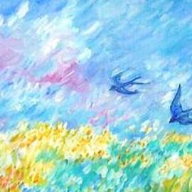 Trudi Doyle - Swallows over Harvest Field