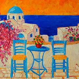 Table For Two In Santorini Greece