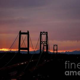 Lisa  Telquist - Tacoma Narrows Bridges With Fiery Sunset