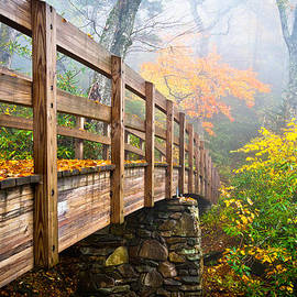 Dave Allen - Tanawha Trail Foot Bridge - Rough Ridge Autumn Foliage NC