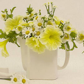 Sandra Foster - Teapot of Yellow Petunias And Daisies