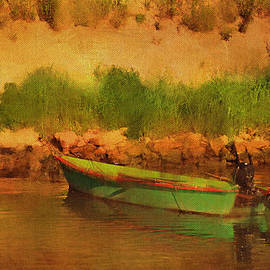 Carla Parris - Tethered Boat by Riverbank