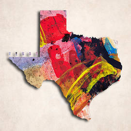 World Art Prints And Designs - Texas Map Art - Painted Map of Texas