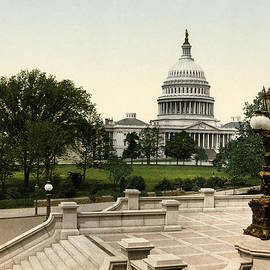 Blue Monocle - The Capitol from the Library steps - Washington DC - Vintage Photo from circa 1898