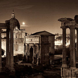 Weston Westmoreland - The Forum Temples at Night Sepia