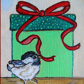 Ella Kaye Dickey - The Gift - Christmas Chickadee Whimsical Painting by Ella