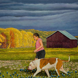Manuel Lopez - The girl and her dog original oil painting 18x24in