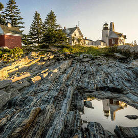 At Lands End Photography - The Lighthouse at Pemaquid Point Reflected in Tidal Pool
