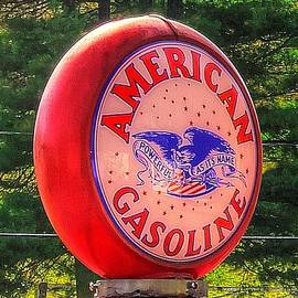Michael Mazaika - The Lincoln Highway in Bedford County PA - American Gasoline Co. Gas Pump Globe No. 1 Close View
