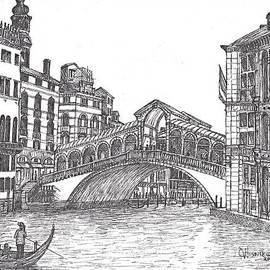 Carol Wisniewski - The Rialto Bridge Venice Italy bw