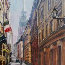 Elena Sokolova - The street of Stockholm with Italian restaurant
