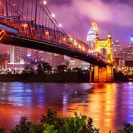 Gregory Ballos - The Vibrant Cincinnati Ohio Skyline and John Roebling Suspension Bridge
